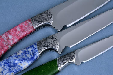 """Antheia"" knives engraved bolsters detail in hand-engraved 304 stainless steel with gemstone handles"