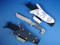 "The Complete Package! ""Arctica"" fine handmade tactical, survival, combat knife with double sheath option and sheath extenders, fire starters, and sharpeners package"
