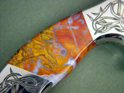"""Argiope"" reverse side gemstone knife handle detail. Note nice flow banding, agate seams and brilliant color and finish"