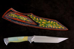 """Argyre"" reverse side view. Sheath back is fully carved and hand-dyed, taking many steps and days to complete"