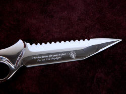 """Ari B'Lilah"" reverse side blade and engraving detail. Mirror polished on CPM154CM is clean, rich, and flawless."