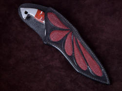 """Ari B'Lilah"" sheathed view. Sheath is deep and protective, with exposed handle and high back for wearer protection"