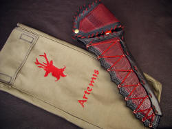 """Artemis"" knife in sheath with embroidered and hand-stitched protective bag, custom made"