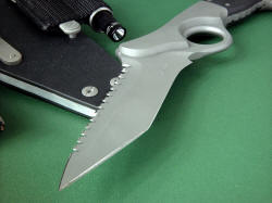 """Aryeh"" point detail. The point of the knife is acute, with two hollow grinds and tanto angle for maximum penetration and razor keen edge"
