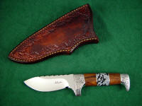 Aspen in 440C stainless blade steel, 304 stainless steel guard, Cocobolo hardwood, Snowflake Obsidian gemstone, leather sheath