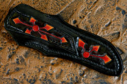"""Azuma"" fine custom knife, sheath back detail. Sheath is fully carved in belt loop and back for a complete artistic ensemble."