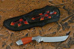 """Azuma"" fine custom knife reverse side view. Sheath back and belt loop are hand-carved and hand-dyed leather"