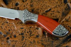 """Azuma"" fine custom knife obverse side handle detail. Red river jasper is very hard, tough and durable, outlasting the knife!"