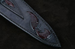 """Bulldog"" sheath back leather inlay detail. Sheath is fully stitched with polyester and sealed with acrylic"