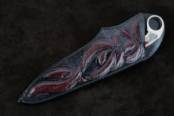 """Bulldog"" sheathed view. Excellent sheath inlay in this beautiful and unique knife"