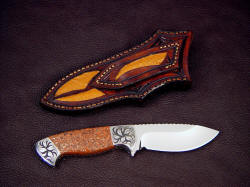 """Chama"" reverse side view. Note inlays of emu skin on sheath back and belt loop. Sheath is tough and solid"