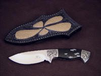 """Chama"" obverse side view in 440C high chromium stainless steel blade, hand-engraved low carbon steel bolsters, snowflake obsidian gemstone handle, emu skin inlaid in hand-carved leather sheath"
