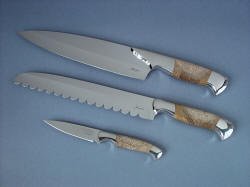 """Chef's Set"" Concordia, Conditor, Consus, obverse side view in CPM154CM stainless steel blades, 304 stainless steel bolsters, Petrified Palm Wood gemstone handles"