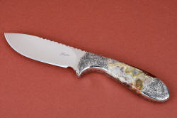 """Chicoma"" obverse side view. Knife named for peak of ancient volcano, is striking and bold in color and pattern"