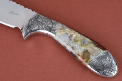 """Chicoma"" obverse side handle detail. This is a 3 power enlargement showing the intricate and detailed agate gemstone handle"