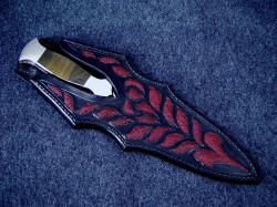 """Classic"" dagger, sheathed view. Note picture framing of knife handle in hand-carved and inlaid knife sheath"