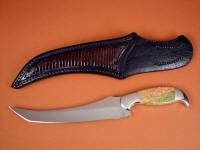 """Cybele"" fillet, boning, chef's, carving, collector's knife, obverse side view in 440C high chromium stainless steel blade, 304 stainless steel bolsters, Unakite gemstone handle, lizard skin inlaid in hand-carved leather sheath"