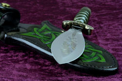 """Darach"" celtic dagger, blade point and leaf shape detail. Hollow ground blade is extremely thin and keen, with a wide-leaf-shaped blade"
