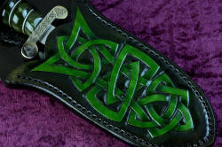 """Darach"" celtic dagger, sheath front detail. Design is bold and strong, graduated and hand-dyed in hardened leather shoulder"