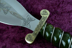 """Darach"" celtic dagger, guard detail. Guard is hand-cast bronze, hand-engraved with triquetras and celtic braiding knotwork"