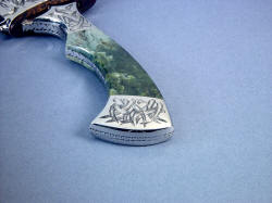 """Desert Wind"" sheath mouth, knife handle view. Handle is comfortable and elegant."