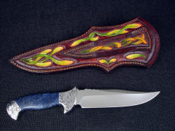 """Domovoi"" reverse side view. Sheath is hand-carved, hand-dyed on back and on belt loop, matching engraving on bolsters"
