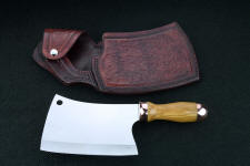"""Edesia"" fine handmade cleaver, obverse side view in 440C high chromium stainless steel blade, copper fittings, olive hardwood handle, hand-tooled leather sheath"