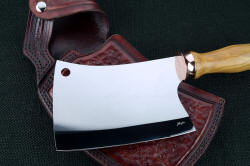 """Edesia"" fine chef's cleaver, obverse side view showing maker's mark etched in thin hand-ground hollow blade."