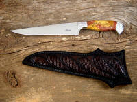 """Eridanus"" mirror finished ATS-34 high chrome-moly stainless tool steel blade, hand-engraved 304 stainless steel bolsters, Sunset Jasper gemstone handle, hand-tooled leather sheath inlaid with chocolate brown ringmark lizard skin"