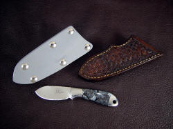 """Firefly"" with two sheath options. This small knife is handy, with a rounded, hollow ground and sharp blade in tough ATS-34 martensitic tool steel"