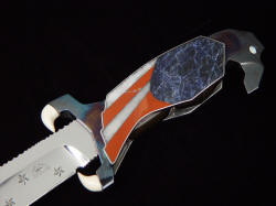 """Freedom's Promise"" obverse side handle detail. Gemstone inlays are mounted in a nickel silver mechanically attached inlay frame to the sides of the hidden knife tang frame which is stainless steel"