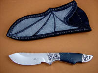 """Furud"" obverse side view: 440C high chromium stainless steel blade, hand-engraved 304 stainless steel bolsters, Spiderweb Obsidian gemstone handle, Shark skin inlaid in hand-carved leather sheath"