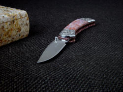 """Gemini"" point detail. Knife blade is hollow ground 440C high chromium stainless tool steel, mirror polished"