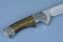 """Golden Eagle"" reverse side gemstone knife handle detail. Fine engraving on 304 stainless steel bolsters is permanent and requires zero care an absolutlely no chance of corrosion, ever."