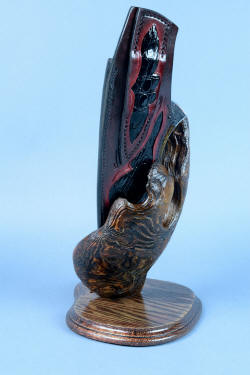 """Golden Eagle"" stand view, sheath back and burl detail in weathered ponderosa pine on antiqued red oak."