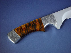 """Golden Eagle"" reverse side handle detail. Tiger eye is smooth and silky, with a high polish and sheen"