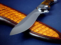 """Golden Eagle"" point detail. Elegant and beautiful curves and recurve in this hollow ground blade."