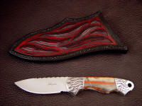 """Grus"" 440C stainless steel blade, hand-engraved 304 Stainless steel bolsters, Binghamite gemstone handle, hand-carved leather sheath"