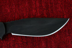 """Hooded Warrior"" (Shadow Line), reverse side blade detail. Stainless steel blade is highly corrosion resistant, wear, resistant, with cryogenic treatment for maximum carbide precipitation and condition."