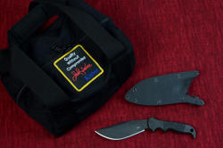"""Hooded Warrior"" counterterrorism knife, shadow line, with complete accessory duffle bag in heavy nylon"