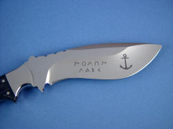 """Hooded Warrior"" custom etching on reverse side of blade to client's design"