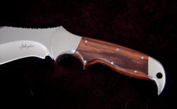 """Hooded Warrior"" handle detail, obverse side. Exotic hardwood: Kingwood"