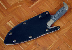 """Hooded Warrior"" sheathed view. Knife is securely locked in waterproof locking sheath"