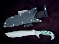 """Imamu"" obverse side view in ATS-34 high molybdenum stainless steel blade, 304 stainless steel bolsters, green, black, pistachio G10 fiberglass epoxy composite handle, locking kydex, aluminum, stainless steel sheath with full accessories"