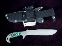 """Imamu"" reverse side view. Sheath is complete with many accessories, critical and convenient"