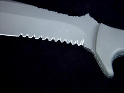"""Imamu"" hammerhead serrations detail. This is an extremely strong and aggressive serration design."