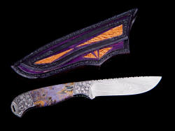 """Izar"" collaborative knife by Gerry Hurst and Jay Fisher, reverse side view. Sharkskin inlays on rear of sheath"