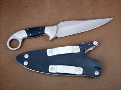 """Bulldog"" tactical knife, reverse side view, with addition of bead blasted stainless steel Chicago screws on sheath"