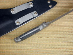"USAF Pararescue ""PJLT"" inside handle tang view. Knive is cleanly contoured, comfortable and solid in the hand"