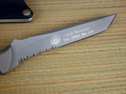 """PJLT"" CSAR Pararescue knife, reverse side engraving detail. Bead blasted hardened and tempered stainless steel knife blade is machine engraved with diamond sylus"
